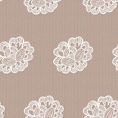 Old lace background, ornamental flowers. Vector realistic texture. Seamless pattern.