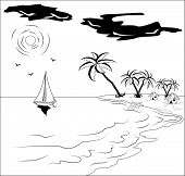 Black and white tropical landscape with palm tree, sun, seagulls and yacht