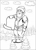 Santa Claus is holding a large blank sheet of paper. A Christmas concept of Santa's List has room for your own text