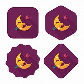 Halloween Moon Flat Icon With Long Shadow,eps10