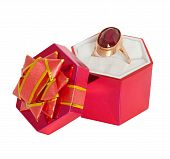 Gold Ring With Big Ruby In Gift Box