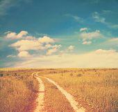 Road in fields, retro film filtered, instagram style