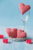 Homemade Red Hearts With Candles On Blue Wooden Backgraund