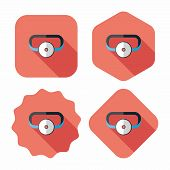 Doctor Head Mirror Flat Icon With Long Shadow