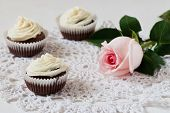 Cupcakes On Lace  In The White Table