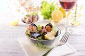 Tasty seafood on plate on table close-up