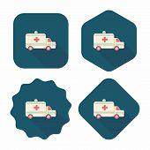 Ambulance Car Flat Icon With Long Shadow