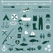 image of hook  - vector set icons of fishing and camping - JPG