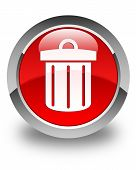 Recycle Bin Icon Glossy Red Round Button