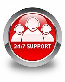24/7 Support Team Icon Glossy Red Round Button