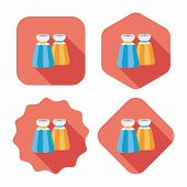 Kitchenware Pepper Bottle Flat Icon With Long Shadow,eps10