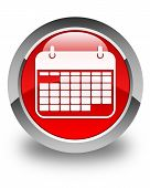 Calendar Icon Glossy Red Round Button