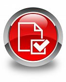 Checklist Icon Glossy Red Round Button
