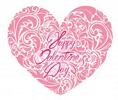 Pink Ornamental Floral Heart With Calligraphic Text Happy Valentine`s Day, Isolated On White Backgro