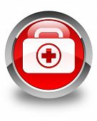 First Aid Kit Bag Icon Glossy Red Round Button