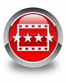 Movie Reviews Icon Glossy Red Round Button