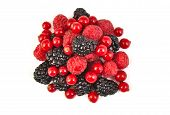 Bunch of blackberries, red currants and raspberries on white background.