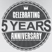 Celebrating 5 Years Anniversary Retro Label, Vector Illustration