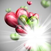 vector holiday illustration of flying bunch of multicolored balloon hearts with shiny burst, explosi