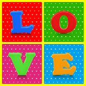 Love Word On Colorful Background