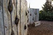 Rocks Inside Wooden Wall