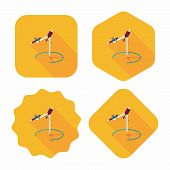 Compass Pencil Flat Icon With Long Shadow,eps10