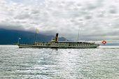 Nice Pleasure Boat On Lake Geneva In Vevey, Switzerland