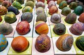 Hand Painted And Decorated Colorful Eggs For Easter
