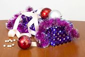 Tinsel, Spheres For An Ornament Of A Fur-tree And A Gift Package
