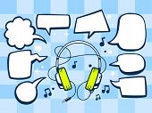 Illustration Of Headphones With Speech Comics Bubbles On Blue Pattern Background.