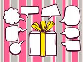 Illustration Of Gift Box With Speech Comics Bubbles On Pink Pattern Background.