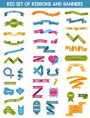 Vector Set Of Labels, Stickers And Ribbons On A White Background