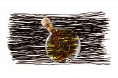 Black Rice Spaghetti Vermicelli And Bottle Of Olive Oil Isolated On White Background