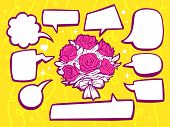 Illustration Of Bouquet Of Flowers With Speech Comics Bubbles On Yellow Pattern Background.