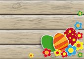 Flowers Easter Eggs Wood