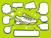 Illustration Of Sneaker With Speech Comics Bubbles On Green Background.
