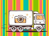 Illustration Of Truck Free And Fast Delivering Photo Camera To Customer On Pattern Color Back