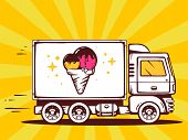 Illustration Of Truck Free And Fast Delivering Ice Cream To Customer On Color Background.