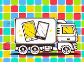 Illustration Of Truck Free And Fast Delivering Phone To Customer On Pattern Background.