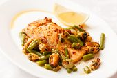 salmon steak with green beans