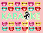 Retro microphone and frame made of open mouths with bright lipstick, Karaoke concept