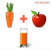 Apple carrot juice, on a gray background. Vector illustration.