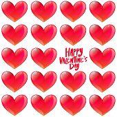 Happy Valentine's Day Glossy Hearts