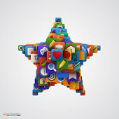 Star made of many application icons.