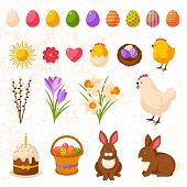 Set of Cute Happy Easter Icons.