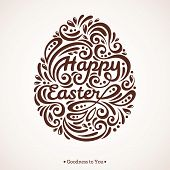 stock photo of greeting card design  - Abstract Happy Easter Lettering in Form of Egg - JPG