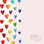 stock photo of happy day  - Rainbow Watercolor Happy Valentines Day Hearts - JPG