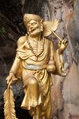 Golden Statue Of A Chinese God At The Tiger Cave Temple (wat Tham Seua) In Krabi, Thailand