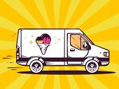 Illustration Of Van Free And Fast Delivering Ice Cream To Customer On Yellow Background.