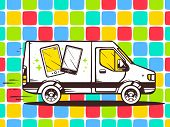 Illustration Of Van Free And Fast Delivering Phone To Customer On Color Pattern Background.